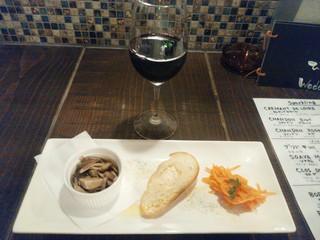 石窯バル WADACHI - 【2016.6.10(金)】前菜3種盛り合わせ+グラスワイン(赤)