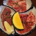 52103548 - お好み定食B(カルビ・ロース・塩ハツ)¥1590(H28.5.17撮影)