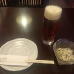 京とんちん亭 - 地ビールの花街麦酒とお通し