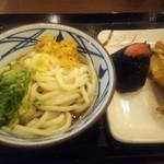 丸亀製麺 - ぶっかけ並(\290) かしわ天(\130) 明太子おむすび(\130)