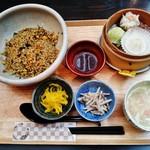 和夢茶Cafe - 『宇治茶飯セット』(1100円)!漬物、小皿、点心、スープ付~♪(^o^)丿