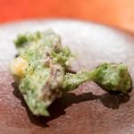エクアトゥール - 2016.6 鮑とあおさのりのフリット 鮑の肝のソース