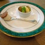 ル・シャモイーヴル - 空豆のクレームプリュレ・パルミジャーノチーズのジェラード