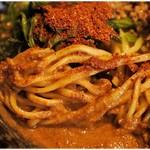 地獄の担担麺 護摩龍 - このスープの絡み付き方を見れば危険度が分かるかと…
