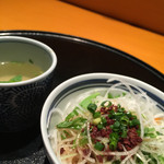 五右衛門 - レディースセットのスープとサラダ。