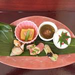 52188577 - 先付八寸/もろこし豆腐、アボカドの天ぷら、レバーを包んだ鴨、つぶ貝