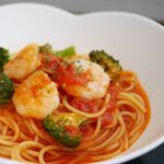 イタリアン シロ ツバキ - 海老とブロッコリーのトマトスパゲティ