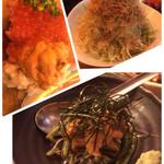 52193177 - のっけ寿司1500円、キャベツとジャコサラダハーフ、焼き茄子とジュンサイの雲丹のせ2016.6