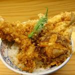 てんぷら石原 - よくばり天丼(海老、穴子、きす、椎茸、しし唐)