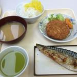 神戸中央港湾労働者福祉センター - Aランチ¥500、オカズ2品、味噌汁、ライス