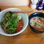 中華そば de 小松 - 冷やし坦々つけ麺(日曜日営業版)       麺が麺屋Hulu-lu謹製麺
