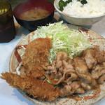 とんかつ三太 - 豚の生姜焼きとヒレカツセット850円