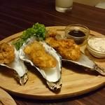 農家と漁師の台所 北海道知床漁場 - 牡蠣フライ!、うまい! 三升タルタルに浸けて。。。