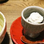 ごはんや 要兵衛 - 甘味 湯葉と小豆のマスカルポーネ・クリーム お薄