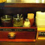 麺屋あごすけ - 箸入れの上には薬味がある