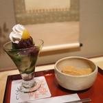 家傳京飴 祇園小石 - ミニ抹茶パフェとミニ黒糖みつわらび餅 1180円