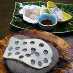 光風館・石亭 - タコと貝柱の石焼き