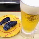スシロー - 料理写真:わさびなす と 生ビール