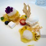ナチュール・エ・サンス - フレッシュマンゴープリン パッションフルーツのジュレ ココナッツグラスとギモーブを添え