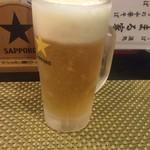 中華そば・酒処 まる家 - サッポロ黒ラベル生  470円(税別)