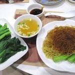 Wong Chi Kei - 午市套餐の招牌蝦子撈麵。敬送油菜1碟は菜心。