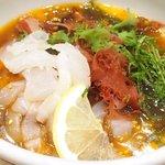 宇和島鯛めし 丸水 - 宇和島鯛めし 1500円 の特製ダレの中の鯛の刺身