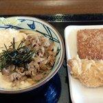 丸亀製麺 - 麦とろ牛ぶっかけ&ハムカツ&かしわ天