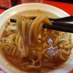 辛口肉ソバ ひるドラ - 辛口ガチ味噌肉ソバ<LV3>(800円)麺リフト