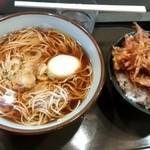 文殊 - そばセット¥520(ゆで卵・天丼)