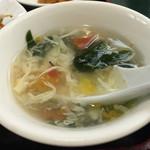 三国軒 - レバニラ炒め定食 780円 トマトのさっぱりスープ