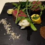 ラ・ベルタ - 和牛もも肉のグリル・湯布院のマスタード、ポルチーニ風味の塩を添えて