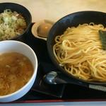 52341909 - 冷やしエビ塩つけ麺 + メンマ飯 + 煮卵 ¥1000