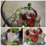 TTOAHISU - *トマトはコンフィされていますので、より甘く感じますね。       ジュレもトマトから作られ、アクセント的に「鮎の魚醤」が加えられています。