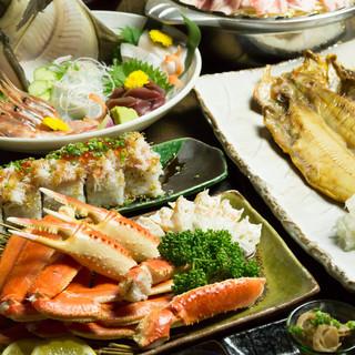 生簀も完備!活カニをはじめ、新鮮魚介を楽しめます!