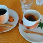 つむじカフェ - [料理] Hot珈琲 & クレーム ブリュレ セット価格\600 全景♪w
