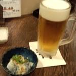 粋鮮 - 生ビール+お通し