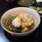 鶴弥 - 鮎とナスの揚げだし。これは美味い。