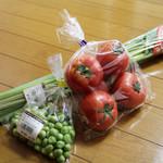 道の駅 ひなの里 かつうら - 料理写真:トマト:グリーンピース:ふきを購入