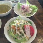 52405462 - 【フレッシュシーフードマリネ】と【野菜サラダ】