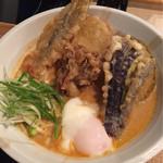 加賀旬菜くらぶ - 加賀野菜天カレーうどん 1280円