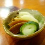 丸文 - お新香「胡瓜、沢庵、奈良漬け、醤油漬けの刻み」