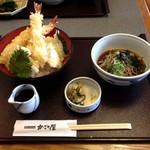 かごの屋 - 海老天丼のランチ