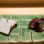 鮨 さいとう - 2016.6 千葉大原クロアワビ、佐島煮蛸