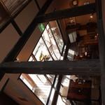 四万温泉 柏屋カフェ - [内観] 2F 客席から 1F テーブル席を見る。