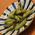 方舟 - 川崎小川町バル(1品と1杯で800円相当)の『茶豆のへしこオイル』2016年6月