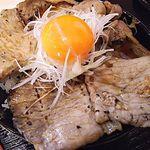 PORCO - 炭火焼きロース醤油豚丼(並盛り) 990円  卵 50円 (味噌汁&キムチ付き)