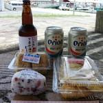 玉盛スーパー - 料理写真:石垣島の夕暮れ海岸ビール/オリオン缶ビール/じゅーしーおにぎり/梅おにぎり/イカの天ぷら