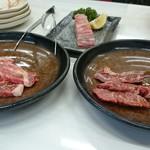 焼肉松坂 - 牛ロース、厚切りカルビ、ハラミ3種
