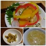 マンダリン マーケット文華市場 - 共通:◆スープには「卵」などが入り丁度いい味わい・ ◆13品目サラダは、健康になれそうな。(^^;)