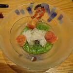 かま田 - ⑤冷鉢 鱧、おくら、氷トマト